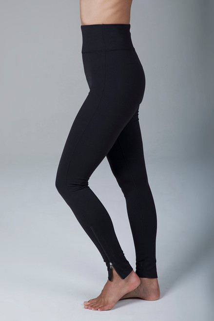 Black Long and Lean Compressive Yoga Tight side view