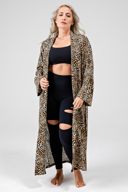 Kathryn Budig Yoga Duster in Leopard Print front view