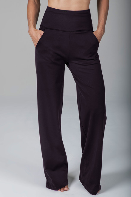 High Waist Wide Leg Yoga Pant in Dark Brown
