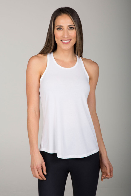 Long and Loose Yoga Racerback in White front view