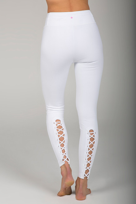 Corset Lace Detailing White Yoga Legging back view