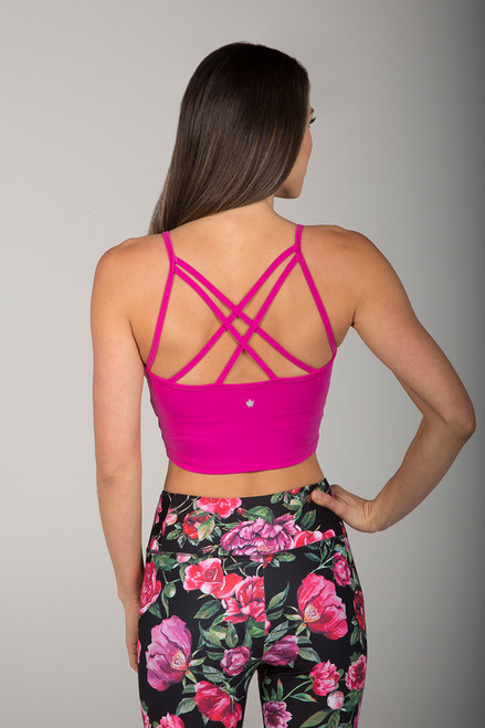 Strappy Back Crop Top in Fuchsia back view