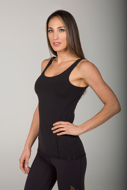 Little Black Tank Top with Built-In Bra and Breathable Fabric