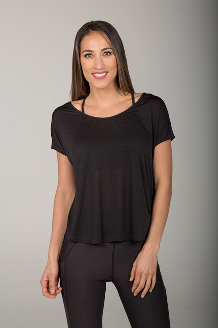 Scoop Neckline Black Yoga T-Shirt front view