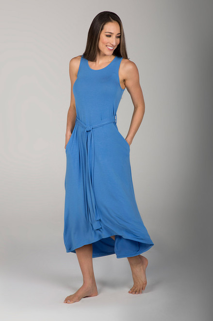Blue Chambray Dress with Waist Tie side view