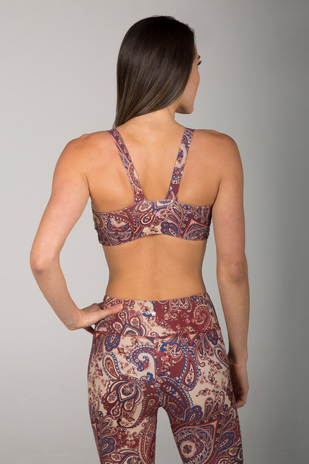 Paisley Yoga Bra with Open Back back view