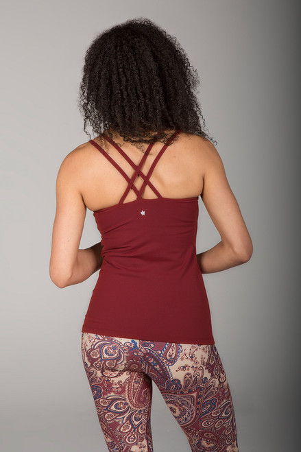 Clay Criss-Cross Back Yoga Tank Top back view