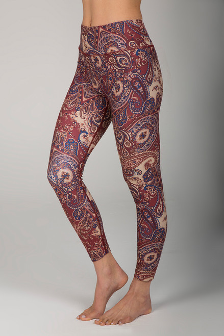 High Waist 7/8 Yoga Legging in Moroccan Paisley Print