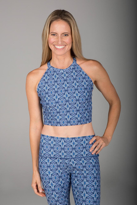 Summer Print Yoga Halter Crop Top front view