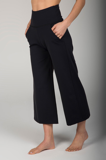 Black High Waist Wide Leg Crop Pant