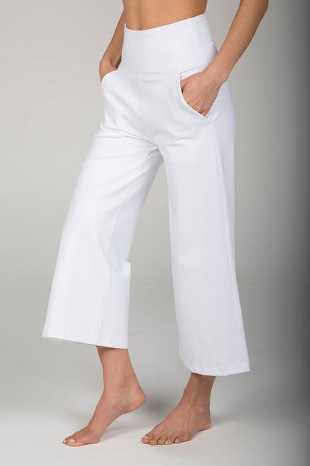 White Cropped Wide Leg Yoga Pant