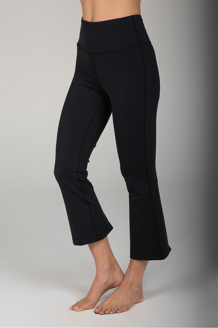 Black Cropped Flare Yoga Pant with Slits