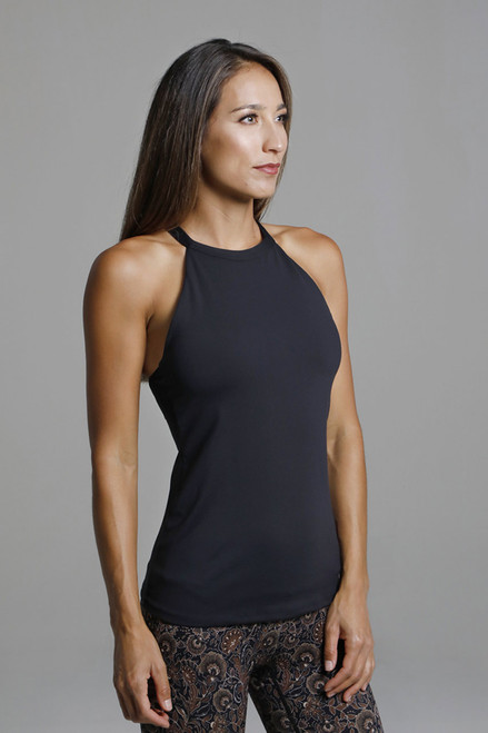 Black High Neck Yoga Top With Built-in Bra