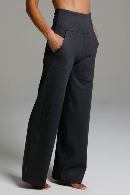 High Waist Wide Leg Pant (Charcoal Grey) side view pockets