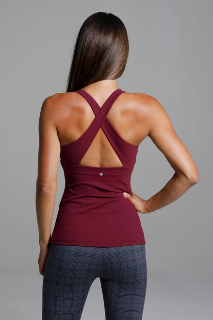 Horizon Yoga Tank in Sienna Red with Criss-Cross Back back view