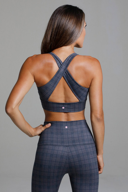 Horizon Yoga Bra in Navy Glen Plaid Print back view