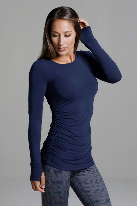 Dark Blue Long Sleeve Yoga Shirt with Thumbholes