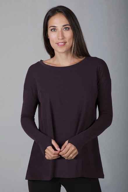 Perfect Long Sleeve Yoga Tee (Mahogany) front