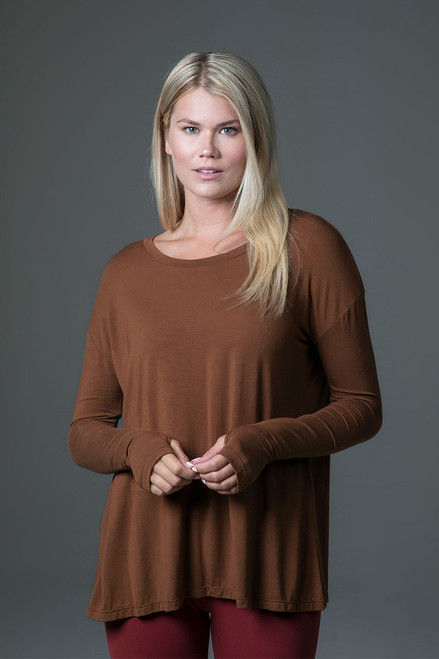 Perfect Long Sleeve Yoga Tee (Bronze) front