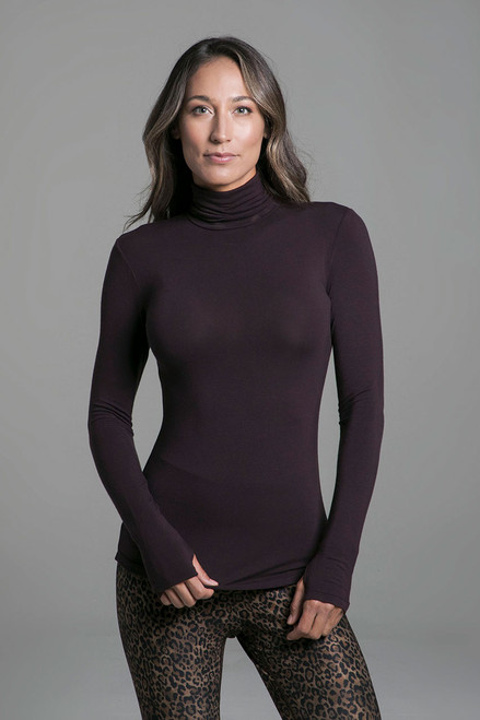 Grace Yoga Turtleneck (Mahogany) front view