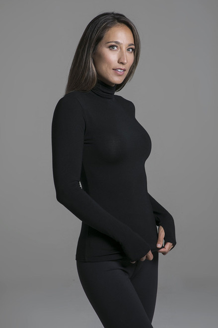 Grace Yoga Turtleneck in Black side view