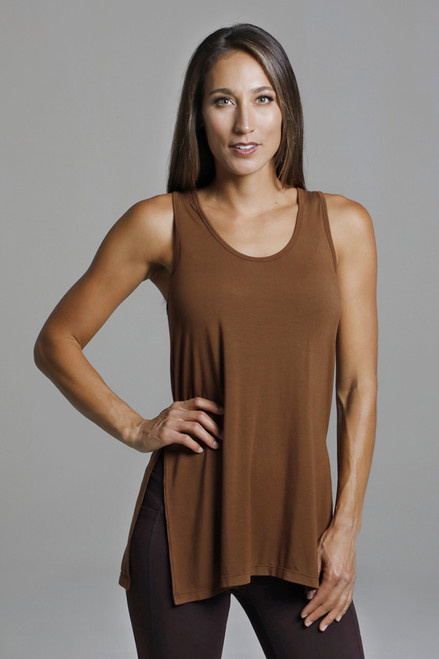 Loose Fitting Scoop Neck Tank Top in Bronze