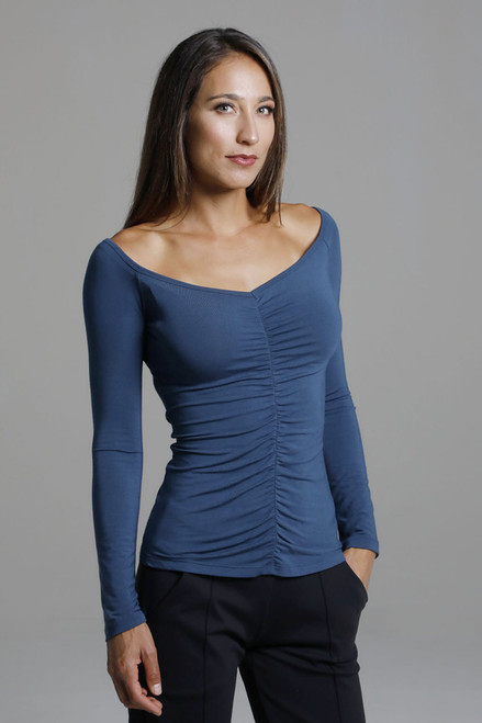 V-Neck Long Sleeve Yoga Shirt with Ruche Details