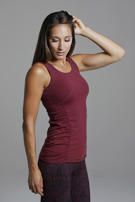 Goddess Yoga Tank (Bordeaux) side ruched yoga top