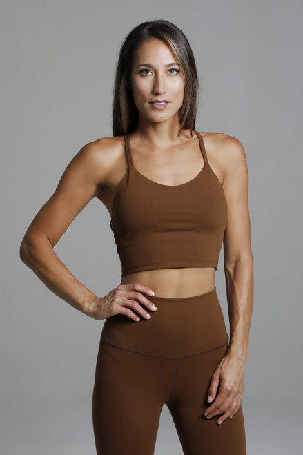 Spaghetti Strap Yoga Cropped Tank Top in Bronze