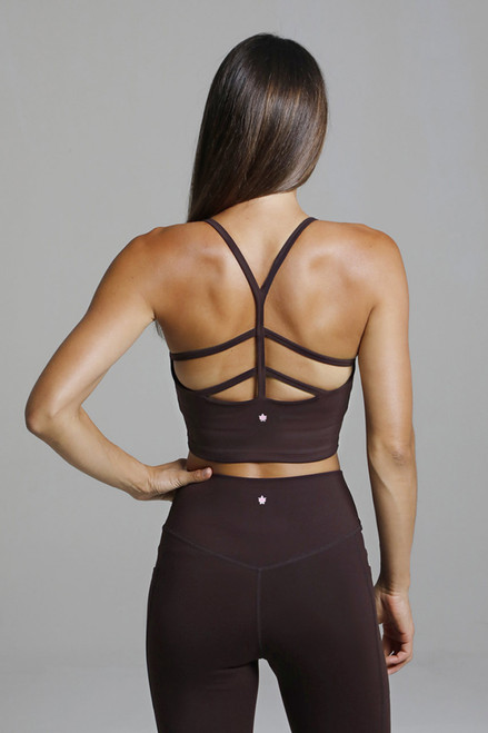Strappy Back Yoga Crop Top in Mahogany