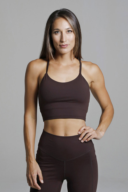Spaghetti Strap Cropped Yoga Tank Top in Brown