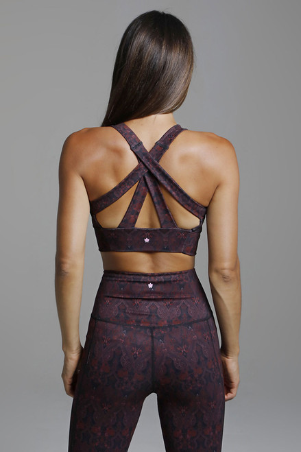 Kathryn Yoga Bra with Strappy Back in Ornamental Print