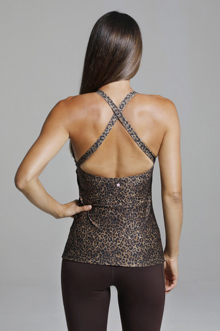 Open Back Criss Cross Back Leopard Print Yoga Top
