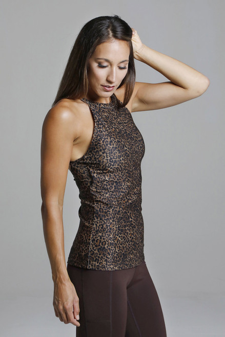 Supportive Leopard Print Halter Tank Top