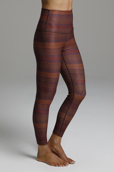 High Waisted Fall Pattern 7/8 Length Yoga Leggings
