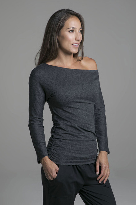 Cozy Charcoal Heather Off the Shoulder Yoga Pull Over
