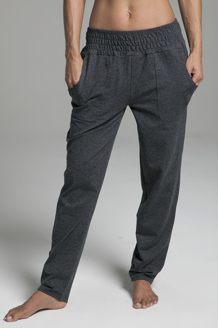 Knit Slouchy Pants in Charcoal Heather grey front view