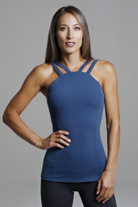 Double Strap Blue Compressive Yoga Tank Top