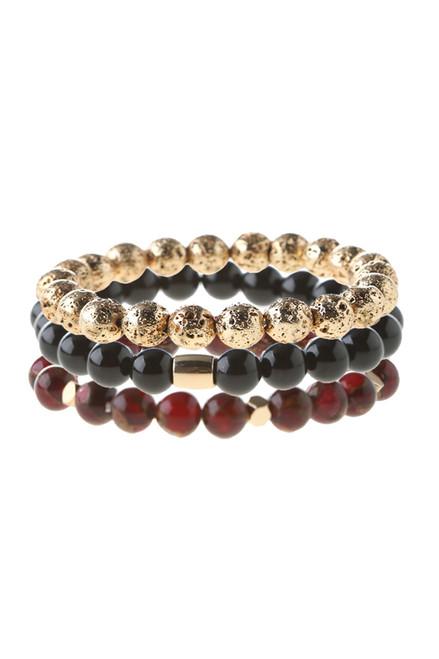 Vitality Bracelet - Goldtone Lava, Black Onyx & Bordeaux