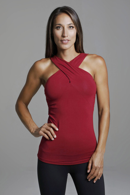 High Neck Supportive Yoga Tank in Crimson Red