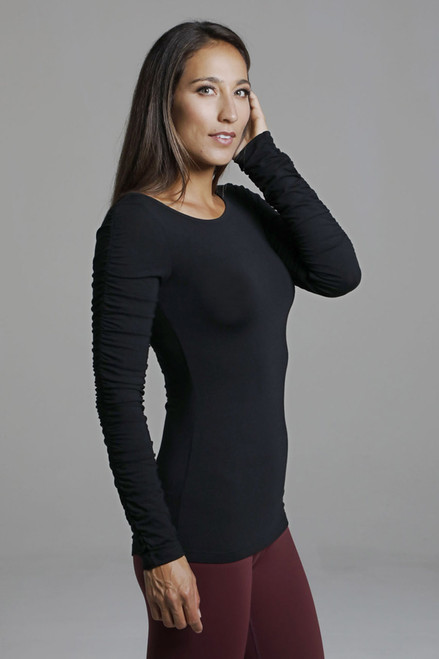 Ballet Ruched Sleeve Yoga Top in Black side view