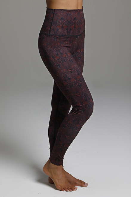 High Waist Red Print Yoga Leggings