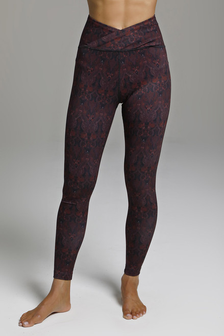 Red Ornamental Print Yoga Legging