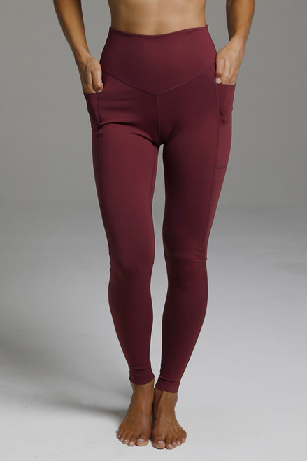 High Rise Pocketed Long Yoga Leggings in Deep Red
