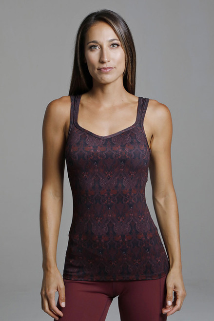 Duchess Sculpting Yoga Tank in Red Ornamental Print