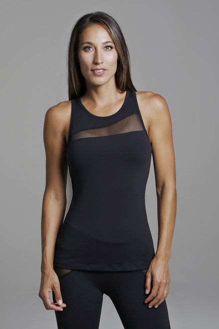 Rendezvous Yoga Tank in Black Front View