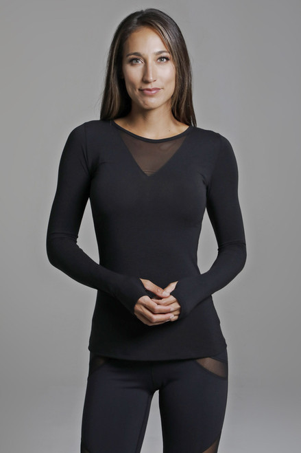 Mesh Long Sleeve Yoga Top in Black Front View