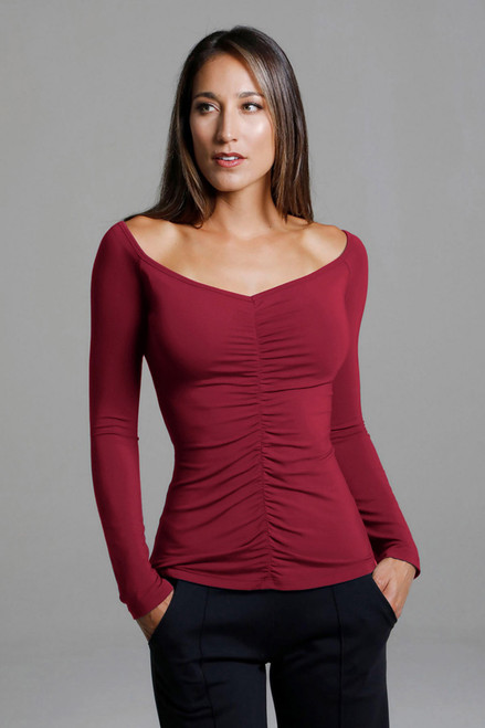 Ruched V-Neck Long Sleeve Yoga Top (Crimson)