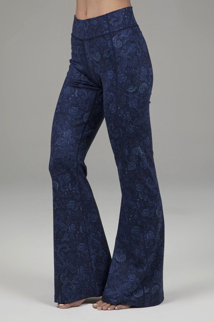 Navy Paisley Flared Bootcut Yoga Pants Side