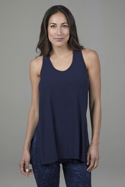 side split yoga tank with scoop neckline